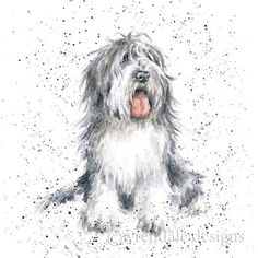 Wrendale Designs A Dog's Life Greeting Card Old English Sheep Dog Animal Paintings, Animal Drawings, Art Drawings, Pencil Drawings, Watercolor Animals, Watercolor Paintings, Watercolour, Wrendale Designs, Dog Artwork