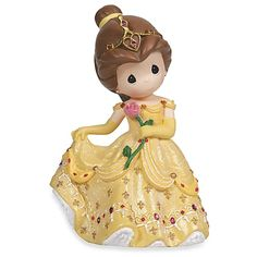 The Disney Belle Rotating Musical Figurine from Precious Moments is a beautiful rendition of the classic Disney princess. Her gown sparkles in gold splendor and the piece even plays Beauty And The Beast as it rotates.
