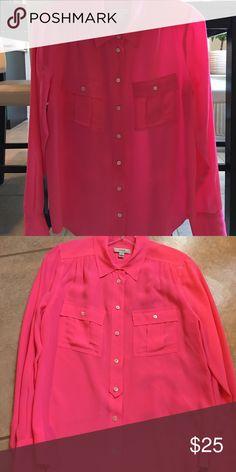 Jcrew blythe blouse Jcrew silk blythe blouse in hot pink! Beautiful closet staple! No flaws J. Crew Tops Blouses