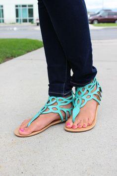 Modern Vintage Boutique - Turquoise Studded Sandals, $20.00 (http://www.modernvintageboutique.com/turquoise-studded-sandals.html)