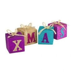 These bright glitter letter block are are great decorations for your home this Christmas. Christmas Themes, Christmas Decorations, Glitter Letters, Block Lettering, Xmas, Christmas Glitter, Yule, Girl Room, Baby Shoes
