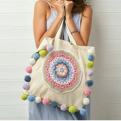 Pompoms AND mandalas. do we really need to say anything else about this fab design? Upcycle a plain tote with our embellishment project… Embroidery Bags, Hand Embroidery Designs, Embroidery Patterns, Beaded Embroidery, Embroidery Stitches, Crochet Shell Stitch, Needlepoint Patterns, Bargello Patterns, Needlepoint Canvases