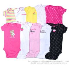 Brand Carters 5pcs/lot Free shipping 2014 NEW Baby clothing sets Baby Girls Bodysuits Newborn Kids baby clothing Pink Summer US $18.90 - 21.90