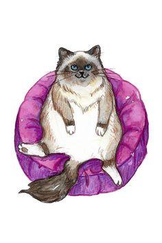4x6 Art Print: Lounge Cat | Etsy Birman Cat, Washington Square Park, Watercolor Texture, New Print, Blue Bird, Colored Pencils, Cherry Blossom, Paper Texture, This Is Us