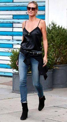 Heidi Klum in her 811 Mid-Rise Skinny Leg in Imagine.
