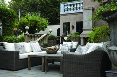 Artwood outdoor furniture can compliment any outdoor space. This photo features the San Diego 3 seater sofa, single seater and vintage coffee tables