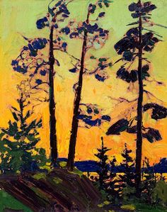 View Pine trees at sunset by Tom Thomson on artnet. Browse upcoming and past auction lots by Tom Thomson. Canadian Painters, Canadian Artists, Landscape Art, Landscape Paintings, Group Of Seven Paintings, Tom Thomson Paintings, Emily Carr, Catalogue Raisonne, Guache