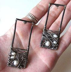 Black & White Iron Pearl Oxidized Wire Wrapped Sterling Post Earrings | Bijoutiful - Jewelry on ArtFire