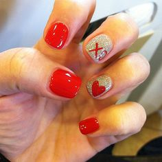Valentine's Day nail art.