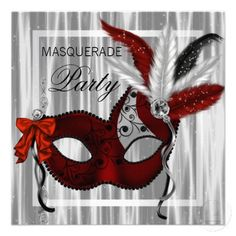 Red And White Masquerade Masks | elegant black white and red feather mask masquerade party invitation ...