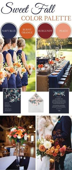 fall wedding inspiration | wedding palette | navy, orange, burgundy, peach |