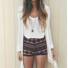 Shorts: date outfit spring outfits printed tribal pattern white cardigan pendant white tank top long