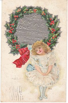 Vintage Postcard Christmas Little Girl Party Dress 1911 Child