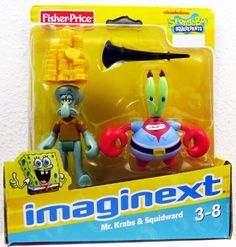 Krabs and Squidward Exclusive Action Figures. Includes: 2 action figures, horn, and pile of gold. Figurines D'action, Spongebob Superhero, Spongebob Squarepants Toys, Rodeo Birthday, Birthday List, Mermaid Toys, Mr Krabs, Baby Alive Dolls, Miniature Crafts