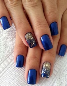 Royal Blue Gold Glitter Fade
