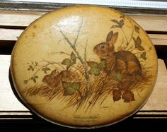 Vintage Decoupaged Cottontail Rabbit Plaque by J. Lockhart, 1950's or 1960's Era by ilovevintagestuff on Etsy