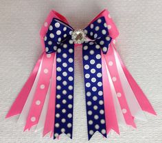 Horse Show Hair Bows/Pink with Blue & silver by BowdanglesShowBows