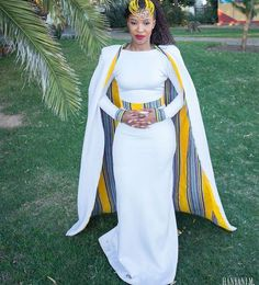 White Cape wedding dressAfrican clothing for womenAfrican wedding dresswedding reception dresshomecoming Cape dress wedding guest dress - Homecoming Dresses - Ideas of Homecoming Dresses African Wedding Attire, African Attire, African Wear, African Women, African Weddings, Nigerian Weddings, African Print Dresses, African Print Fashion, African Fashion Dresses