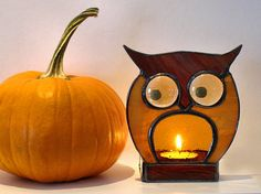 Stained Glass Night Light Owl Brown. Etsy Seller Alla S.