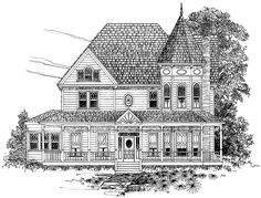 Eplans Queen Anne House Plan - Three Bedroom Queen Anne - 2519 Square Feet and 3 Bedrooms from Eplans - House Plan Code Victorian House Plans, Victorian Design, Victorian Homes, Victorian Farmhouse, The Sims, Sims 3, Home Building Design, House Design, Facades