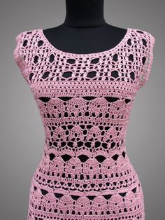 Crochet Dress Catherine. Ready to ship. Pink Day by TsarevaCrochet