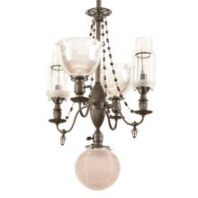 Remarkable Victorian 5-Light Chandelier W/ Holophane Shades c1890