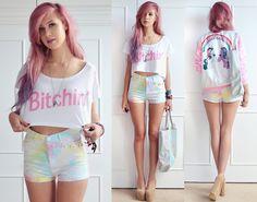Batoko Bitchin' Crop Top, Little Clouds Daisy Brooch, Sheinside Rainbow Tie Dye Shorts, Sheinside My Little Pony Jacket, Little By Little Ho...