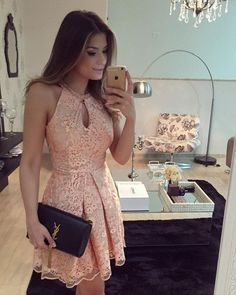 Short Halter Neckline Blush Lace Homecoming Dress