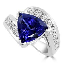 6.44ct Trillion Cut Tanzanite & Diamond Ring
