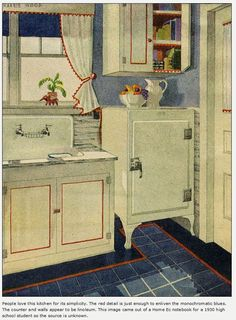 1929 Red, White and Blue Kitchen - i like the idea of the coloured trim on the cabinets, and the way the tile is around the perimeter of the floor.