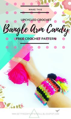 Crochet Bangle Bracelet Upcycled Jewellery | Free Crochet Pattern - Free Arm…
