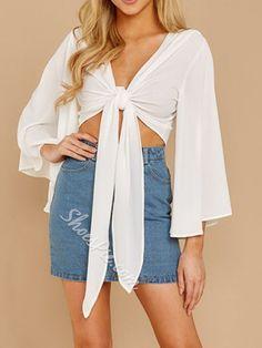 Plain V-Neck Flare Sleeve Nine Points Sleeve Women's Blouse Blouses For Women, Flare, Wrap Dress, Kimono Top, Hipster, V Neck, Style Inspiration, Boho, Sleeves