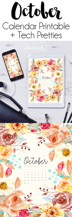 October 2016 Calendar + Tech Pretties. One of my most popular posts each month are these free pretty printables and calendars for your tech! | DawnNicoleDesigns.com