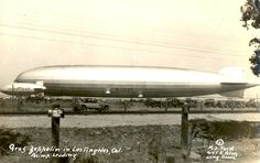 Airship Graf Zeppelin, D-LZ127, at Los Angeles, 1929. A Goodyear blimp is alongside.