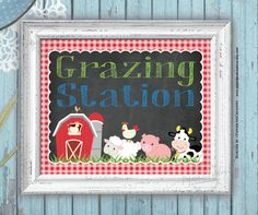 Farm Animals Food and Drink Party Sign - Grazing Station - Farm Birthday - Barnyard Animals Signs - Printable - Instant download http://etsy.me/2AiKKoJ #papergoods #birthday #birthdaydecoration #firstbirthday #partysigns #farmanimals #farmsign #8x10 #grazingstation
