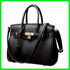 RW Collections Carey Designer Satchel Shoulder Crossbody Bag Handbag Purse (Black) - Top handle bags (*Amazon Partner-Link)