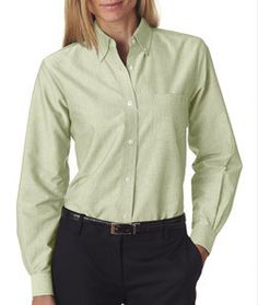 8990 UltraClub Ladies' Classic Wrinkle-Free Long-Sleeve Oxford Lime