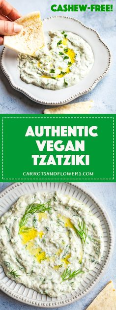 Authentic Vegan Tzatziki (Cashew-free) - Carrots and Flowers - Vegetarian Dinner Recipes Whole Food Recipes, Diet Recipes, Vegetarian Recipes, Cooking Recipes, Healthy Recipes, Vegetarian Grilling, Healthy Grilling, Salad Recipes, Vegan Tzatziki