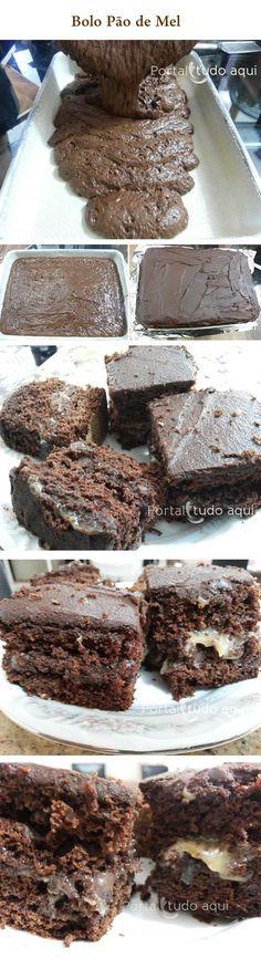 Aprenda a fazer essa receita deliciosa e prática de bolo pão de mel, feita no liquidificador e na assadeira. Uma delícia!!