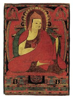 Portrait of the Indian Monk Atisha, early to mid-12th century, Tibet. Atisha was the abbot of the great Vikramashila monastery in north India, one of the mahaviharas granted the learned degree of pandita, here indicated by his yellow hat. In 1042 he traveled to Tibet at the invitation of the Western Tibetan king Yeshe 'Od to help purify Buddhist practices there. Atisha's authority was rooted in his lineage, an unbroken chain of pupil-guru relationships going back to the Buddha himself.