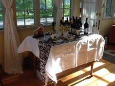 Wine themed bridal shower. Wine tasting table.