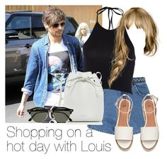 """""""Shopping on a hot day with Louis"""" by style-with-one-direction ❤ liked on Polyvore featuring Glamorous, Mansur Gavriel, Ray-Ban, OneDirection, 1d, louistomlinson and louis tomlinson one direction 1d"""