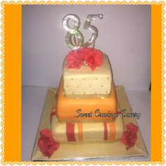 #Blingbling .happy 85th birthday cake. Red, orange and gold theme