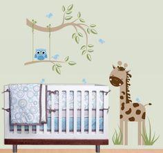 une girafe et une chouette bleue stickers muraux dans la chambre bébé