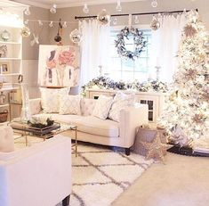 Whats white, silver and chic all over? very merry living room is putting us in the christmas spirit (and giving us some major inspiration for next year) Christmas Living Rooms, Christmas Room, Pink Christmas, Whimsical Christmas, Shabby Chic Christmas, Beautiful Christmas, Christmas Decorations, Holiday Decor, Christmas Ideas