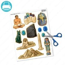 Decorate your Ancient Egypt school project with these paper shapes! Includes Scribe, Canopic Jars, King Tut Mask, the Rosetta Stone, Statue of Bastet, Sphinx, Obelisk, Pyramids, Mummy Case, and scarab beetles. Just print the file and cut out the shapes!