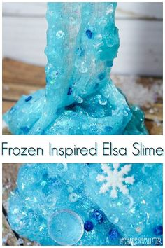 This crunchy textured Elsa slime is inspired by the movie Frozen. Art Activities For Toddlers, Sensory Activities, Crafts For Kids, Winter Activities, Cool Slime Recipes, Easy Slime Recipe, Slumber Party Games, Carnival Birthday Parties, Disney Frozen Olaf