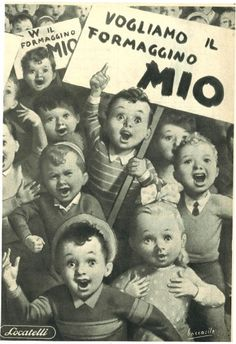 """50s italian ad of """"formaggino mio"""" ( cheese spread for children)"""