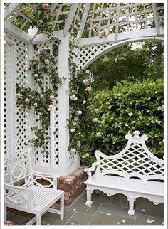 Lattice gazebo & bench w/chair Backyard Gazebo, Backyard Landscaping, Landscaping Ideas, Formal Gardens, Outdoor Gardens, Garden Gazebo, Garden Benches, White Garden Bench, Garden Seat