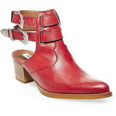 Steve Madden Women's Roguue Boots ($100) ❤ liked on Polyvore featuring shoes, boots, red leather, red leather booties, western cowboy boots, steve madden boots, western boots and red booties